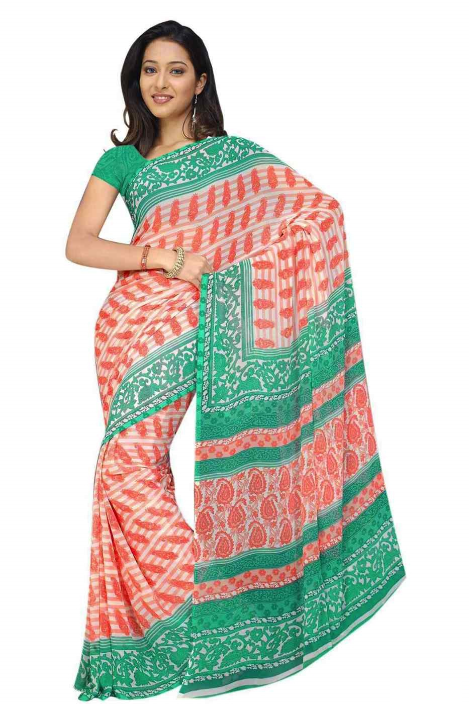 Damyanti Georgette Printed Casual Saree Sari Bellydance fabric