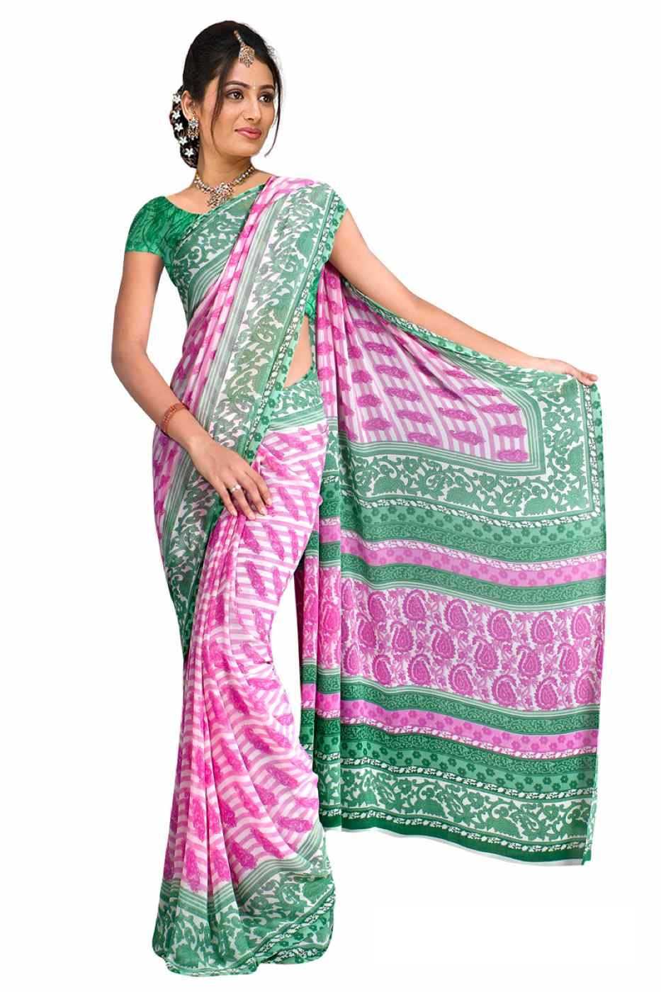 Damini Georgette Printed Casual Saree Sari Bellydance fabric