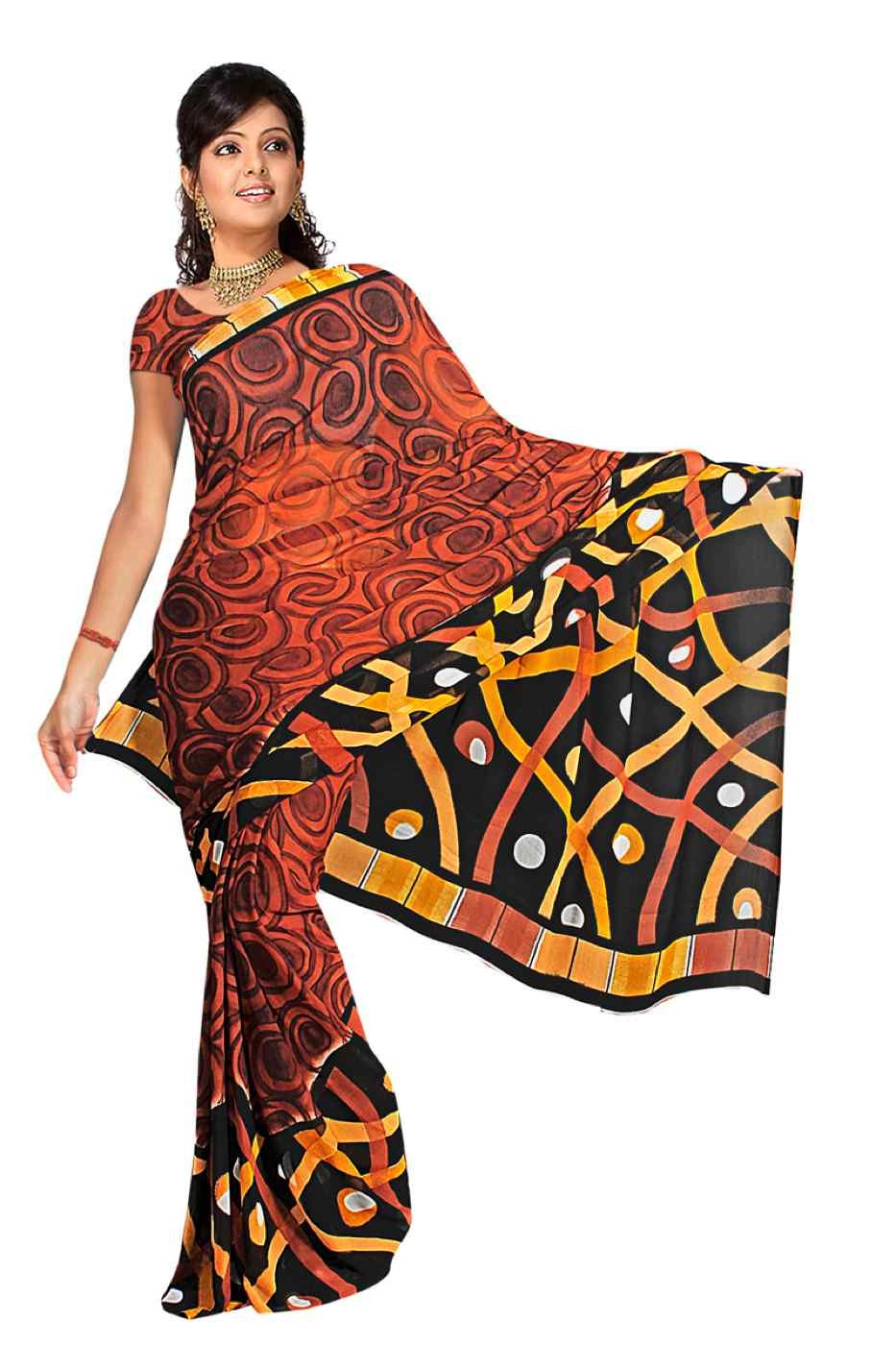 Dalaja Georgette Printed Casual Saree Sari Bellydance fabric