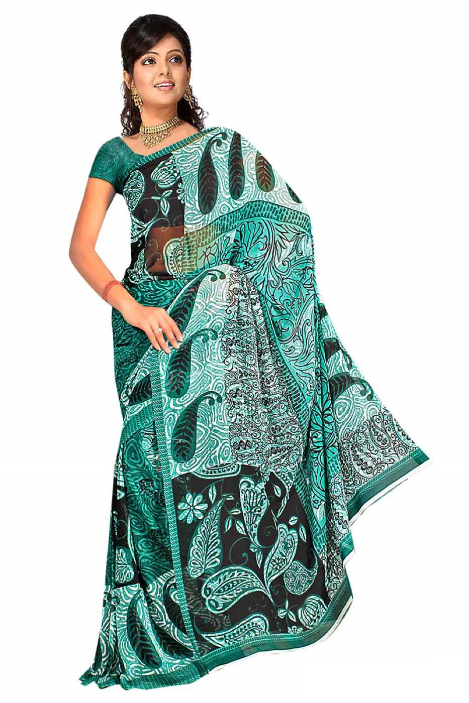 Indian Selections Chitrani Georgette Printed Casual Saree Sari Bellydance fabric at Sears.com