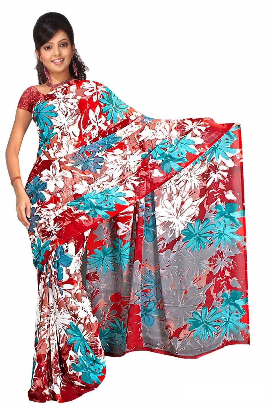 Indian Selections Chhaya Georgette Printed Casual Saree Sari Bellydance fabric at Sears.com