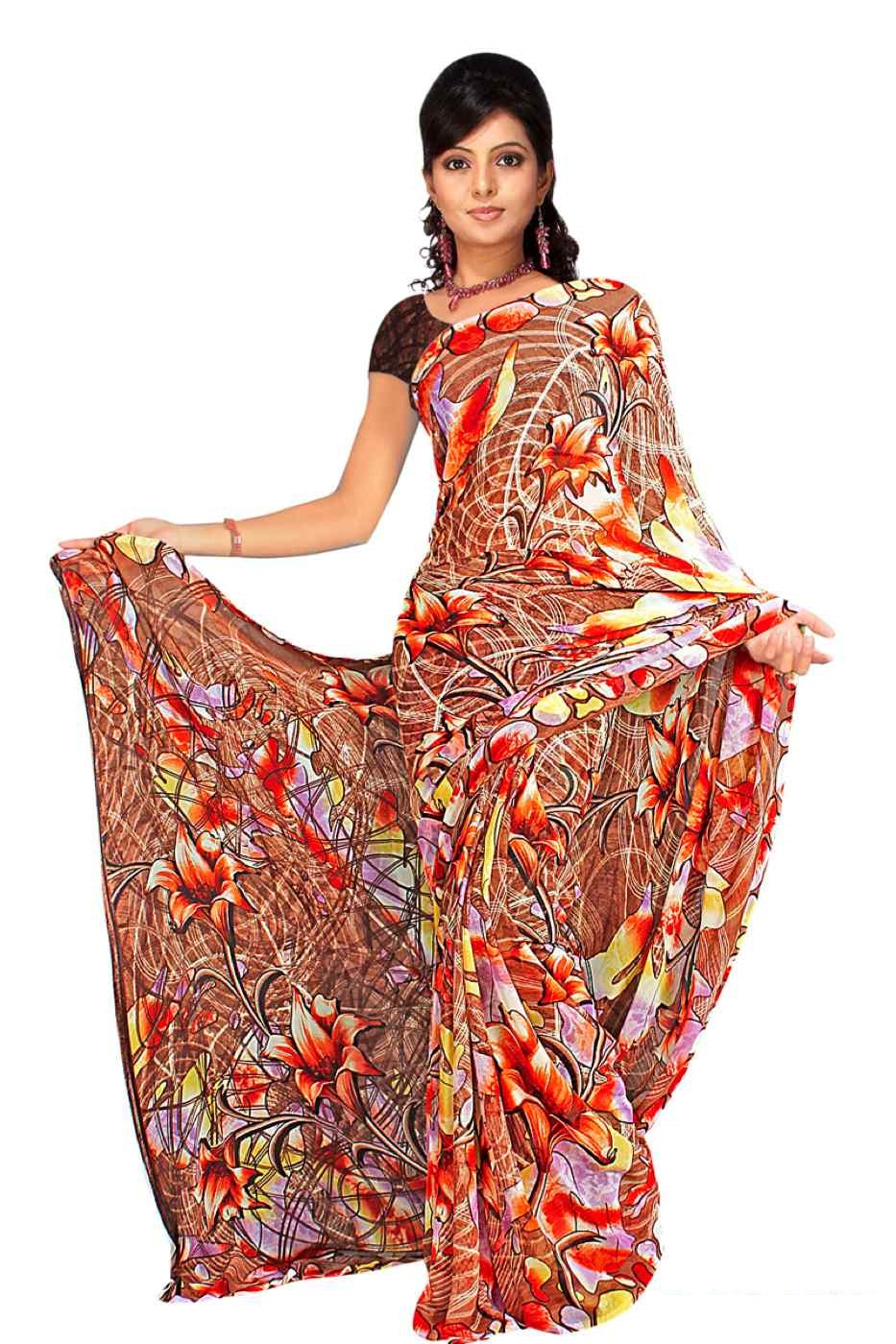Chandrika Georgette Printed Casual Saree Sari Bellydance fabric