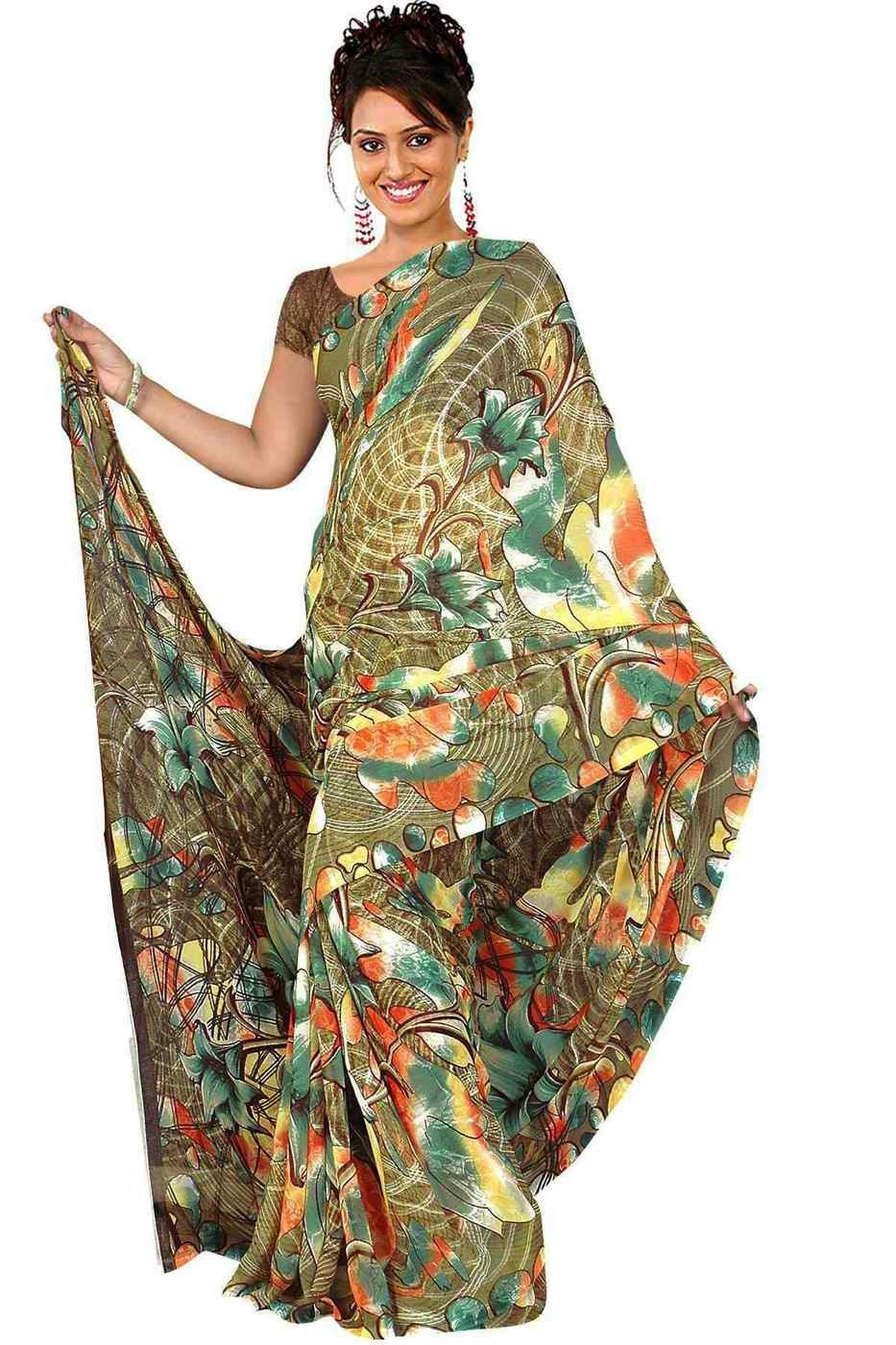 Chandra Georgette Printed Casual Saree Sari Bellydance fabric