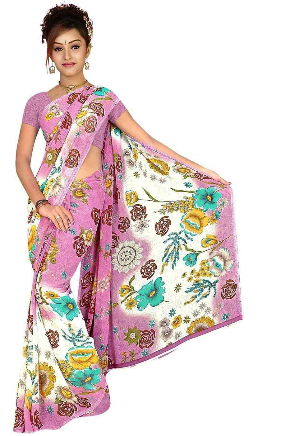 Indian Selections Chaman Georgette Printed Casual Saree Sari Bellydance fabric at Sears.com