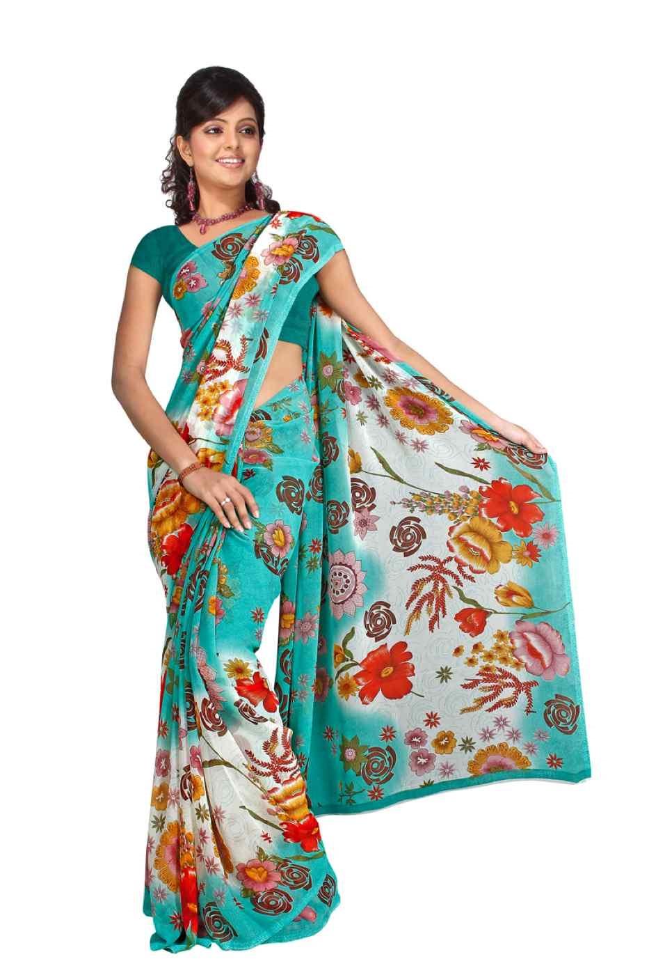 Chalama Georgette Printed Casual Saree Sari Bellydance fabric