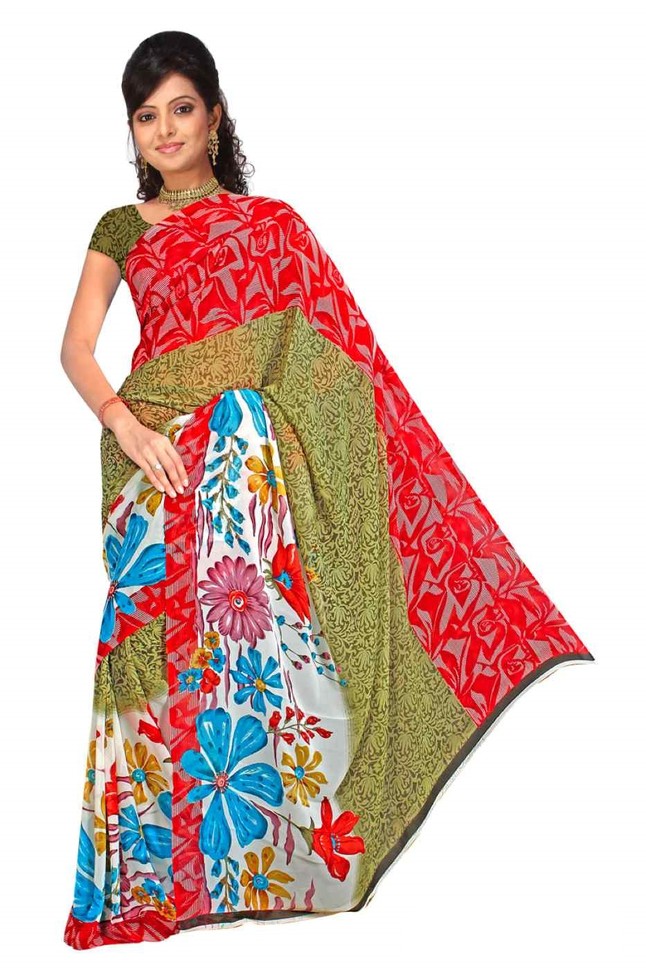 Indian Selections Bhavini Georgette Printed Casual Saree Sari Bellydance fabric at Sears.com