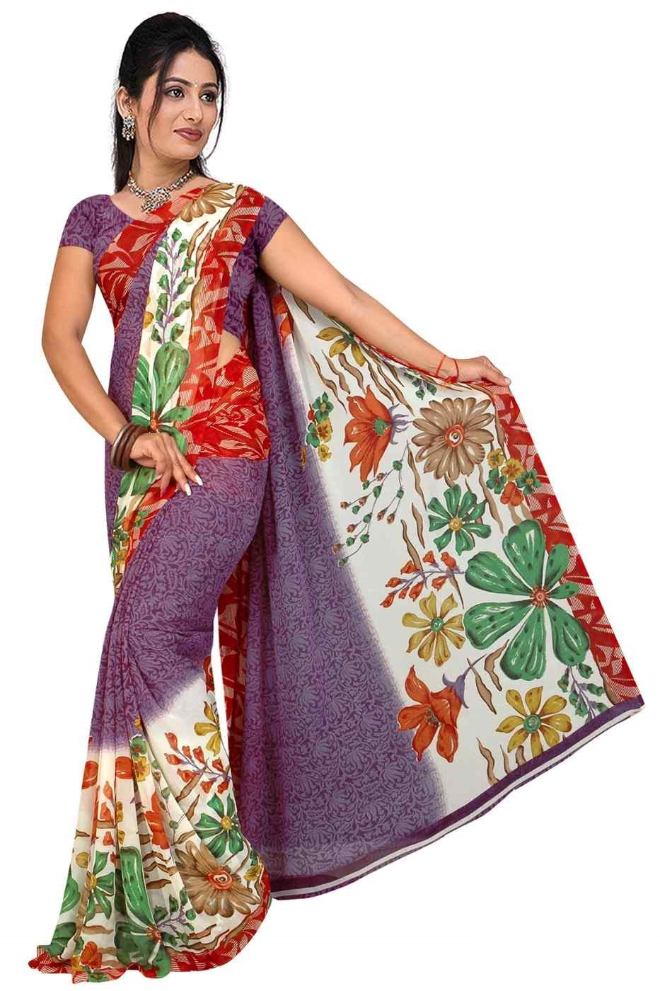 Indian Selections Bhavi Georgette Printed Casual Saree Sari Bellydance fabric at Sears.com