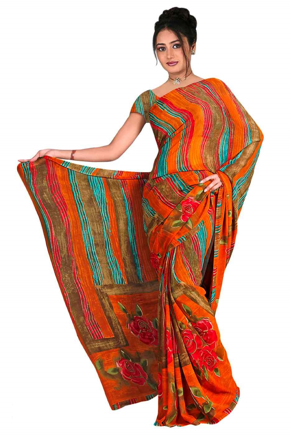 Indian Selections Bhanumati Georgette Printed Casual Saree Sari Bellydance fabric at Sears.com