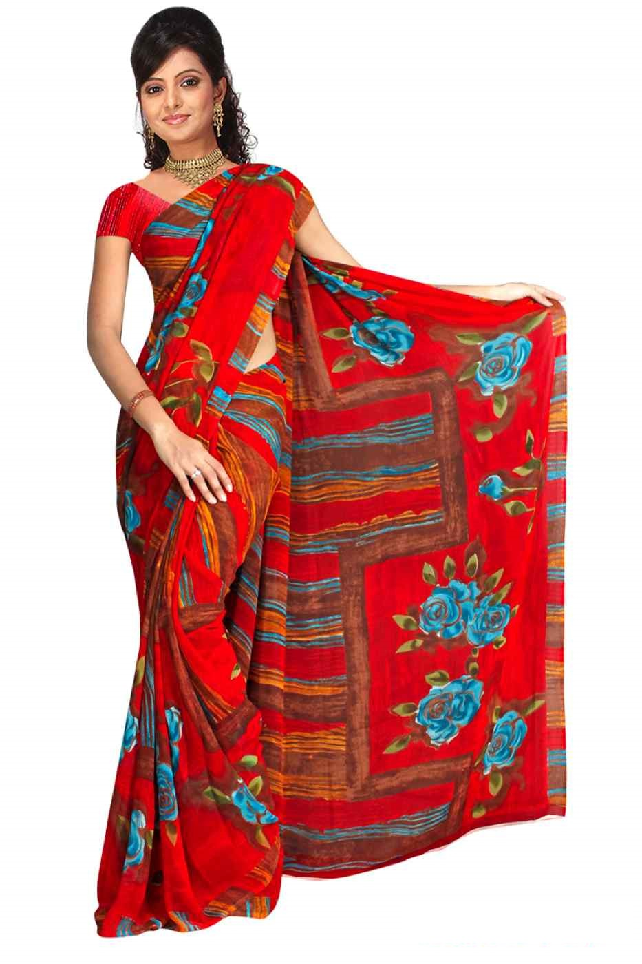Indian Selections Bhakti Georgette Printed Casual Saree Sari Bellydance fabric at Sears.com