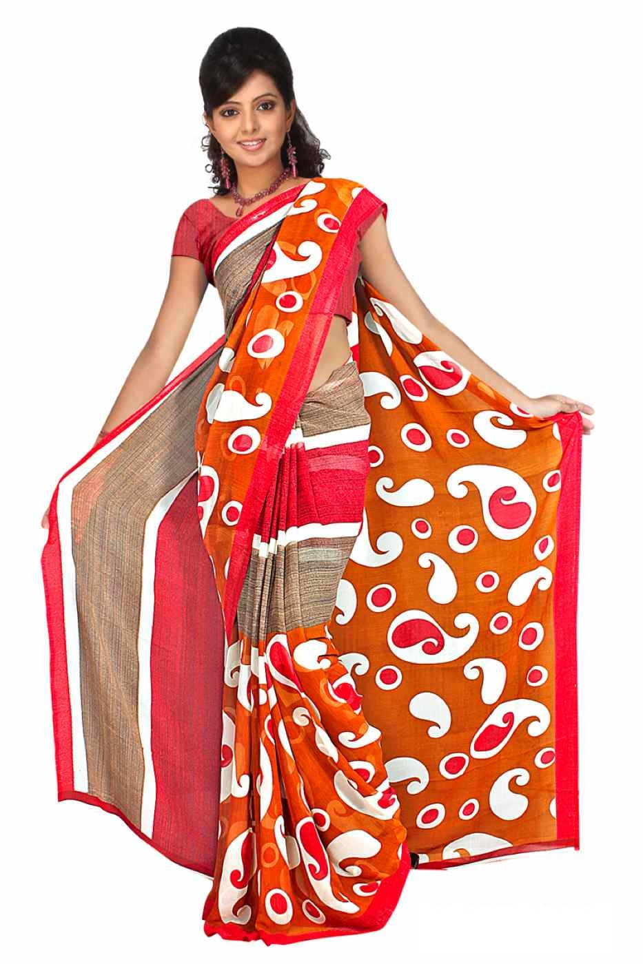 Indian Selections Bhagyasri Georgette Printed Casual Saree Sari Bellydance fabric at Sears.com