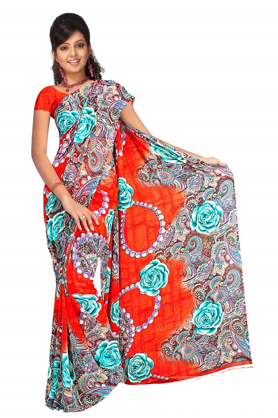 Bhagwanti Georgette Printed Casual Saree Sari Bellydance fabric