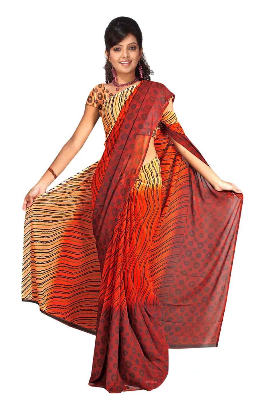 Barsha Georgette Printed Casual Saree Sari Bellydance fabric