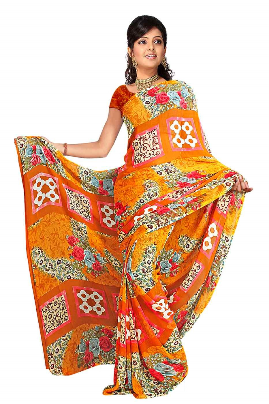 Indian Selections Bala Georgette Printed Casual Saree Sari Bellydance fabric at Sears.com