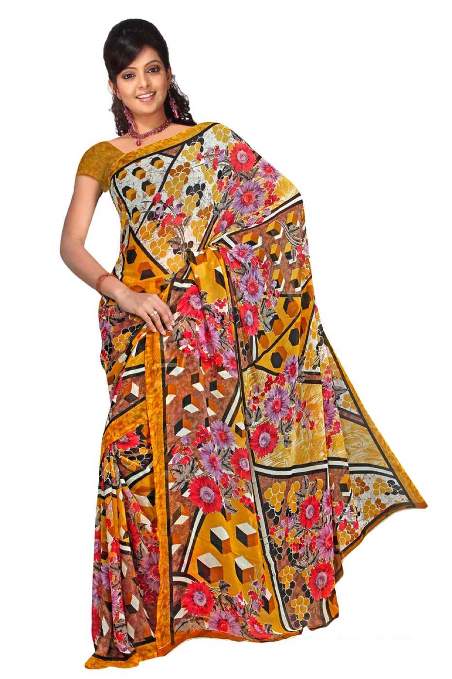 Ayanna Georgette Printed Casual Saree Sari Bellydance fabric