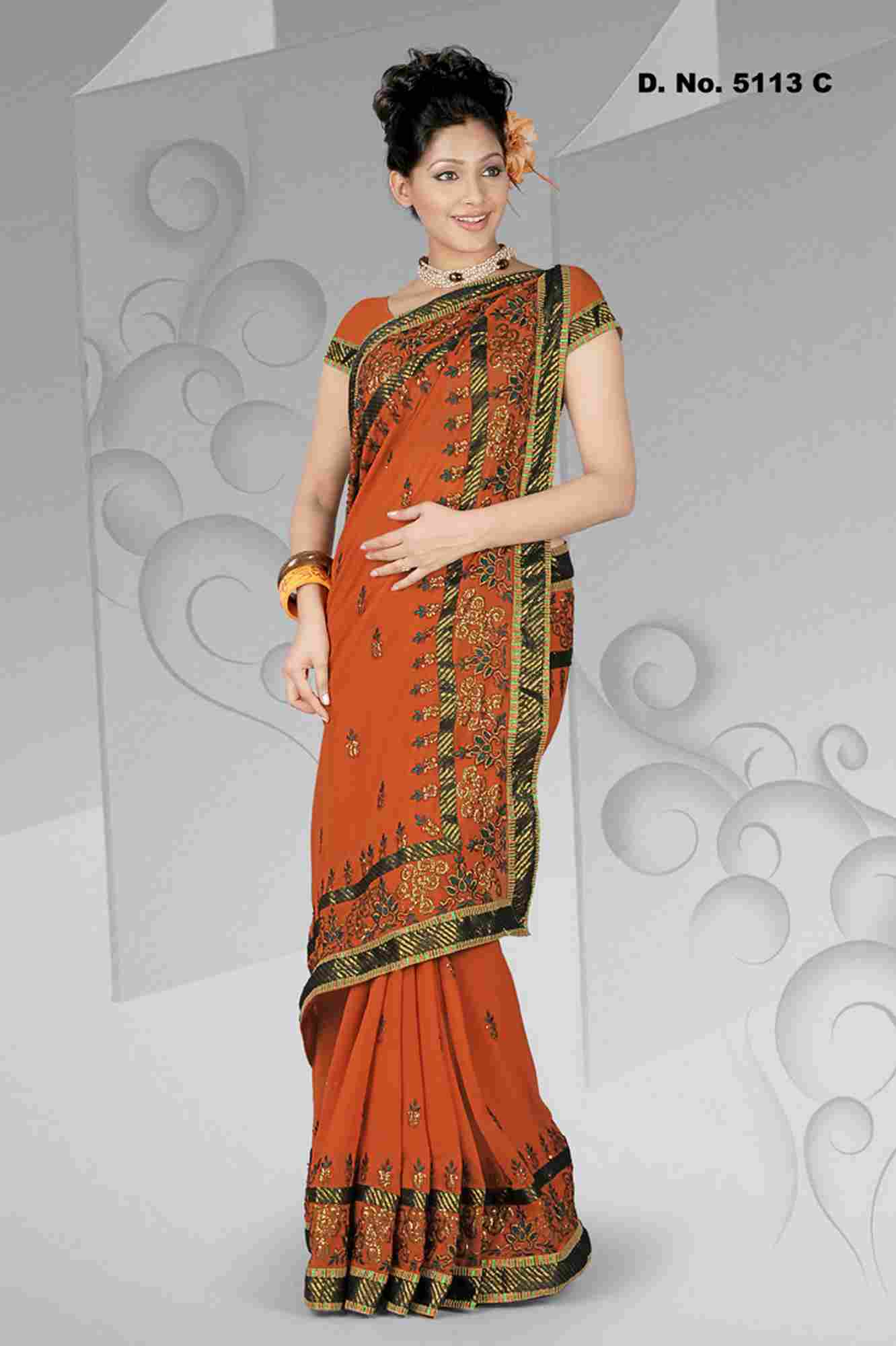 Indian Selections Avinashi Evening Party Wear Georgette Sari at Sears.com
