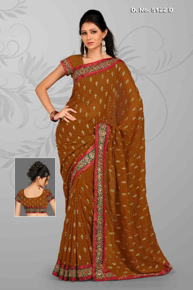 Indian Selections Anjali Musterd  Georgette Festival Wear Sari saree at Sears.com