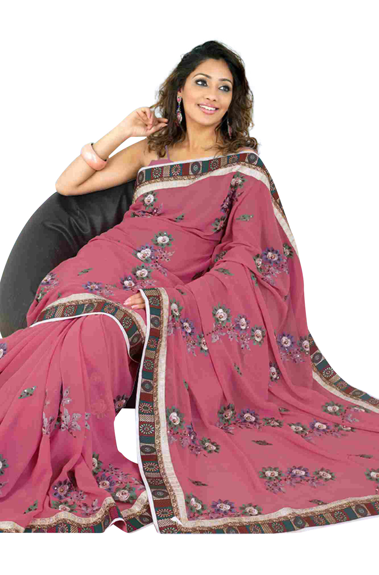 Indian Selections Bhagirathi Fancy festival wear designer Georgette Sari  saree at Sears.com