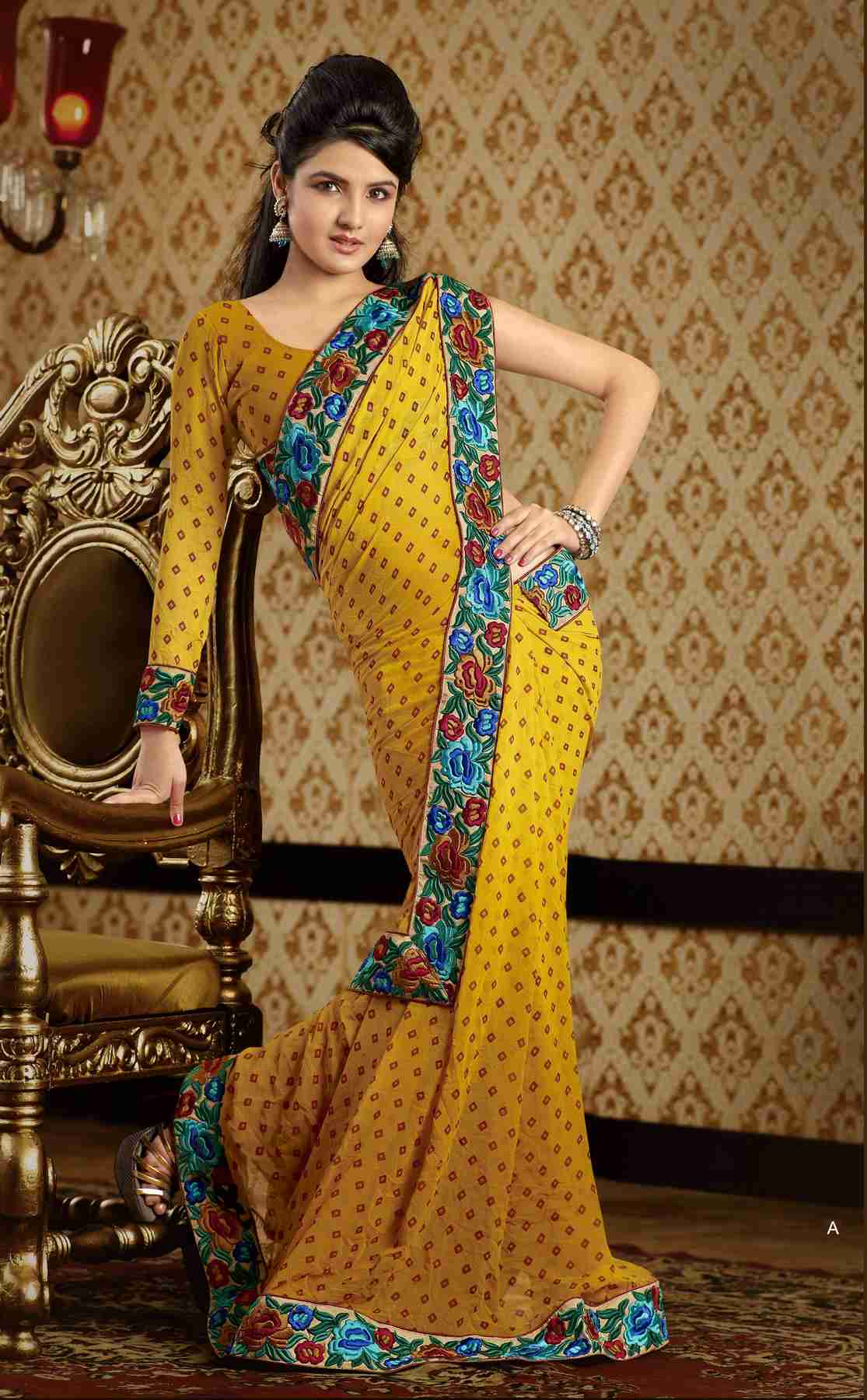 Indian Selections Chaitali Yellow Faux Crepe Luxury Party Wear Sari saree at Sears.com