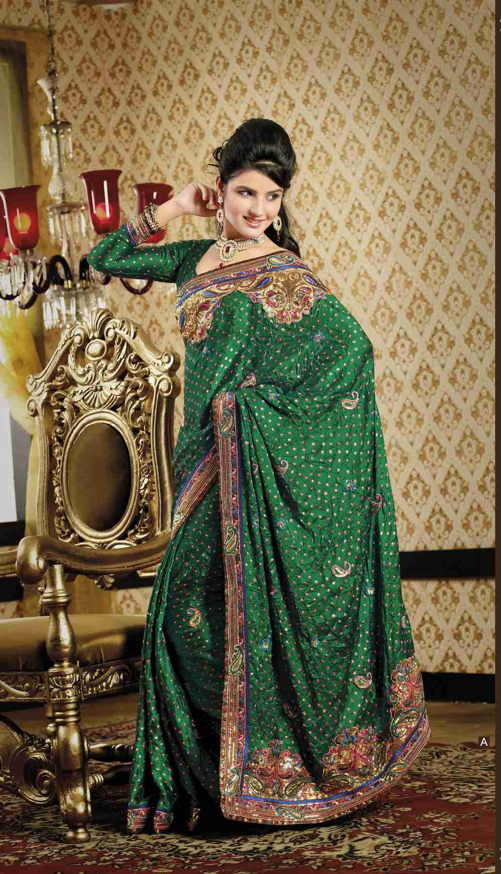 Indian Selections Chintanika Bottle Green Faux Crepe Luxury Party Wear Sari saree at Sears.com