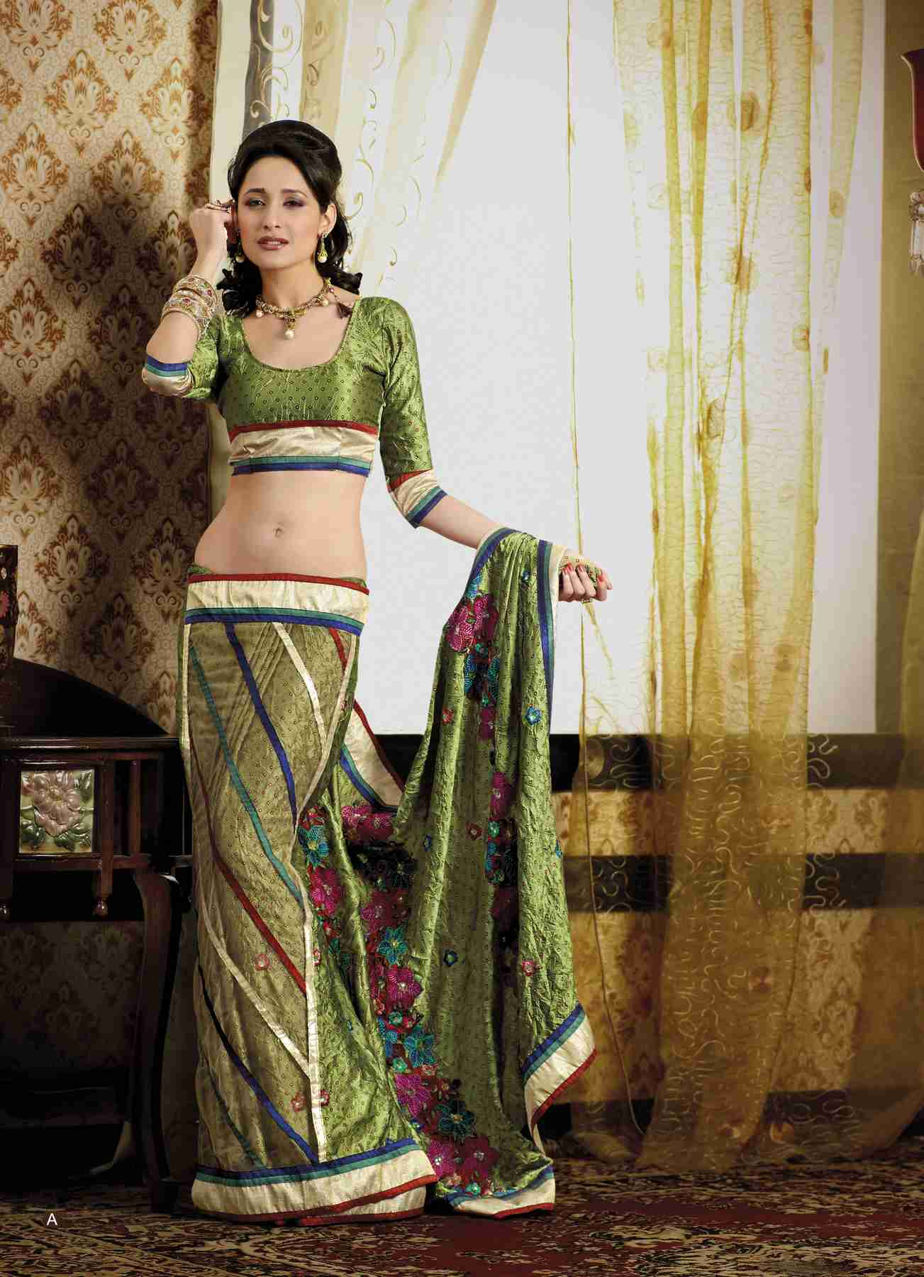 Indian Selections Chunni Olive Green Faux Crepe Luxury Party Wear Sari saree at Sears.com