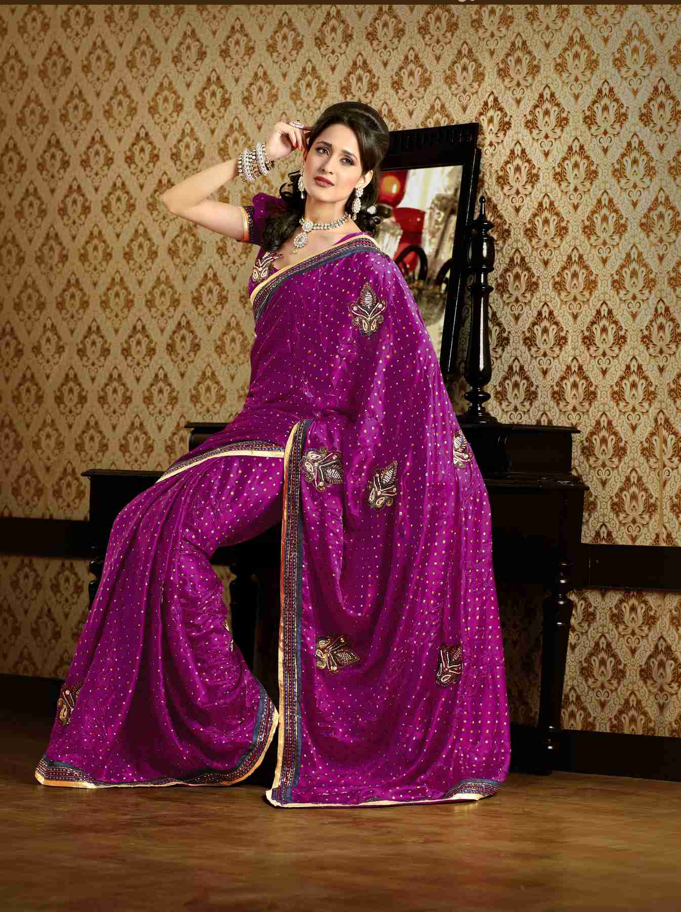 Darshana Deep Magenta Faux Crepe Luxury Party Wear Sari saree