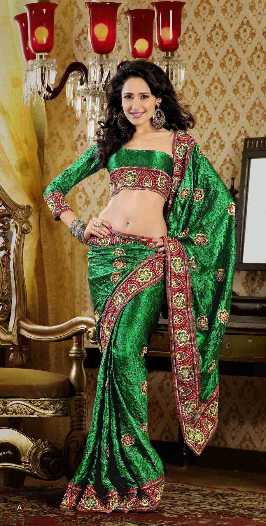 Daya Bottle Green Faux Crepe Luxury Party Wear Sari saree