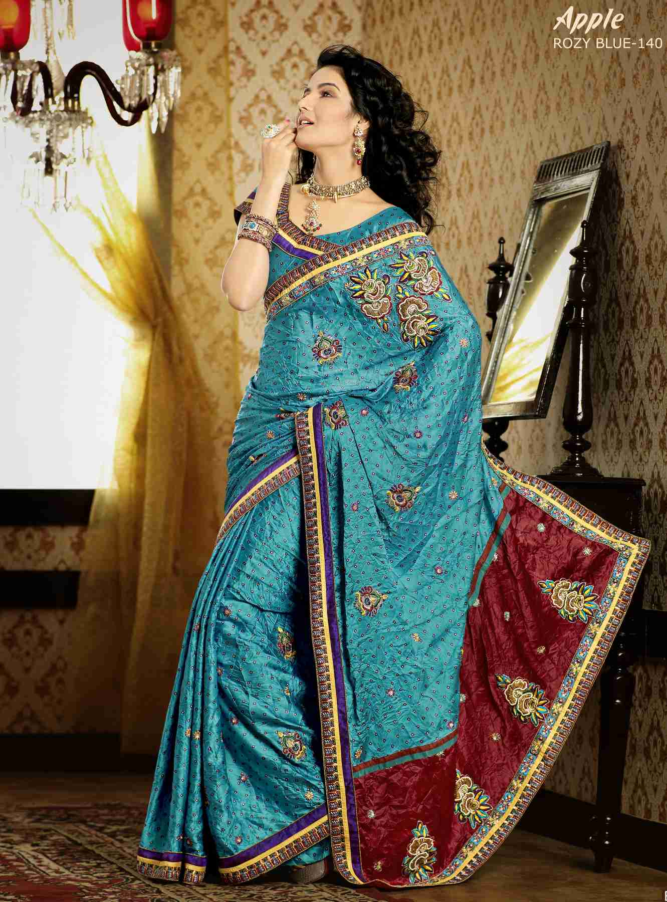 Deepa Turquoise Blue Faux Crepe Luxury Party Wear Sari saree