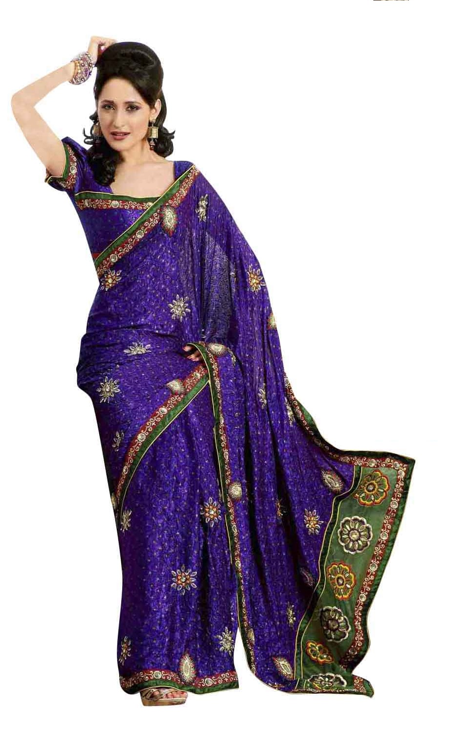 Indian Selections Deepal Deep Purple Faux Crepe Luxury Party Wear Sari saree at Sears.com