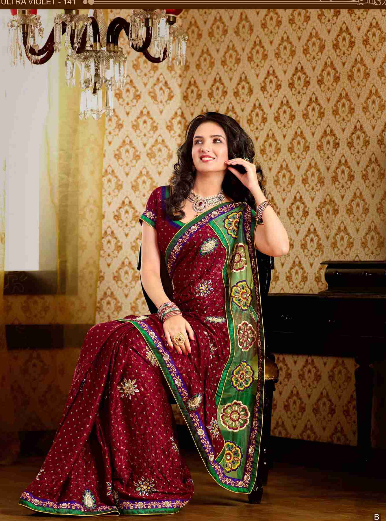 Deepshika Maroon Faux Crepe Luxury Party Wear Sari saree