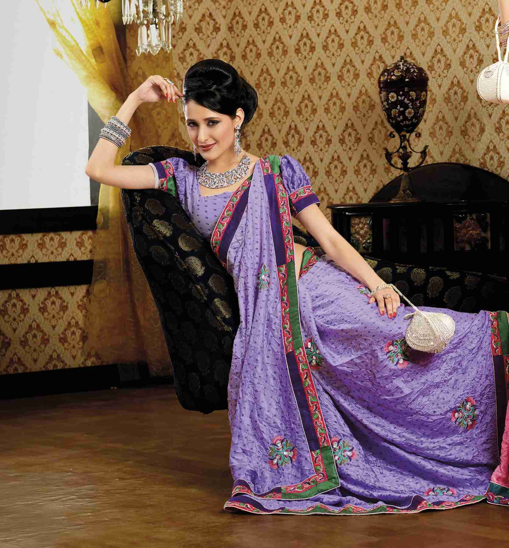 Indian Selections Deepti Mauve Faux Crepe Luxury Party Wear Sari saree at Sears.com