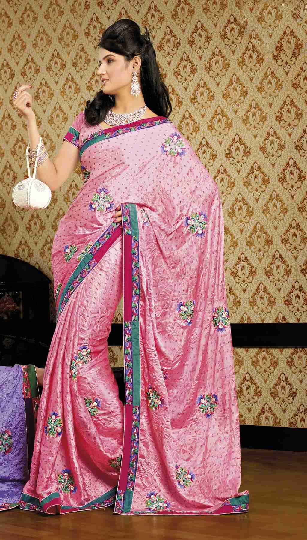 Devangi Deep Pink Faux Crepe Luxury Party Wear Sari saree