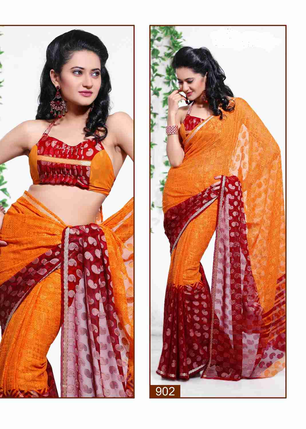 Indian Selections Bhumika Georgette Indian Sari saree Fabric Bellydance at Sears.com