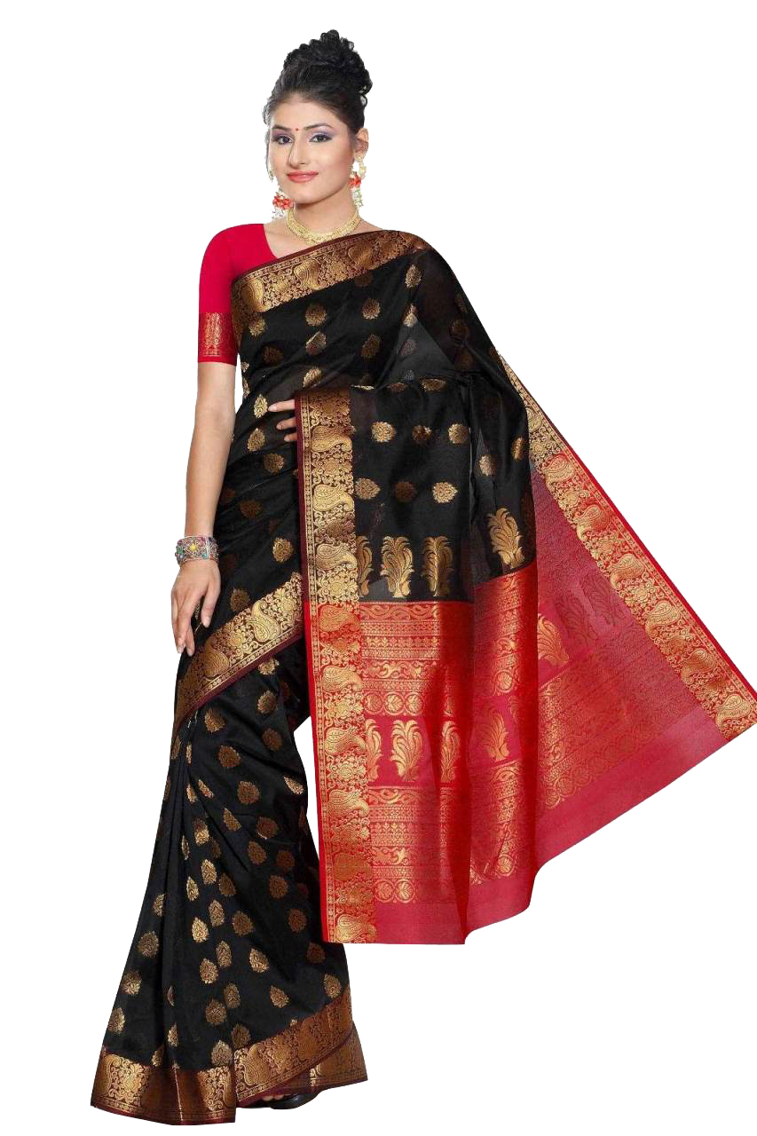 Black and Red South Indian fancy Art Silk Sari Saree bellydance wrap ...