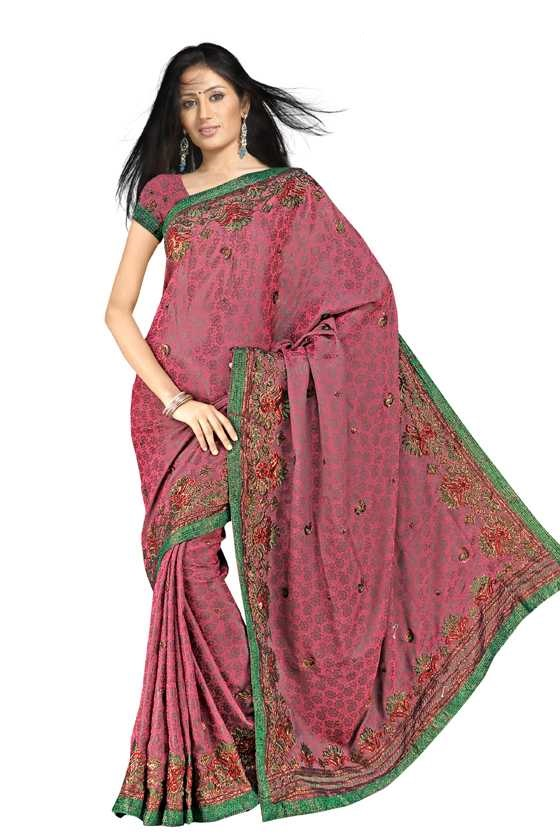 Indian Selections Bharati  Georgette Indian Sari saree with Embroidery at Sears.com