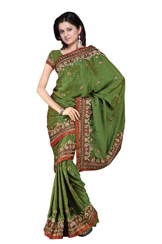 Indian Selections Bhavini  Georgette Indian Sari saree with Embroidery at Sears.com