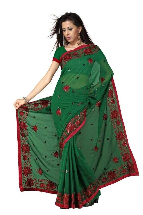 Indian Selections Chandrima  Georgette Indian Sari saree with Embroidery at Sears.com
