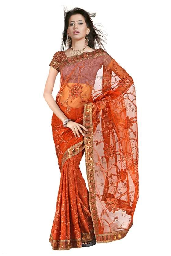 Indian Selections Charusheela  Georgette Indian Sari saree with Embroidery at Sears.com
