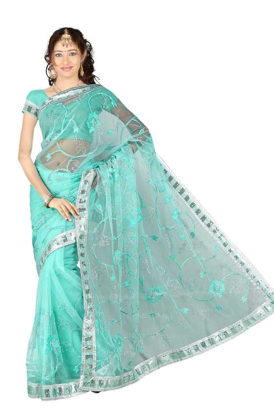 Dharti Georgette Indian Sari saree with Embroidery