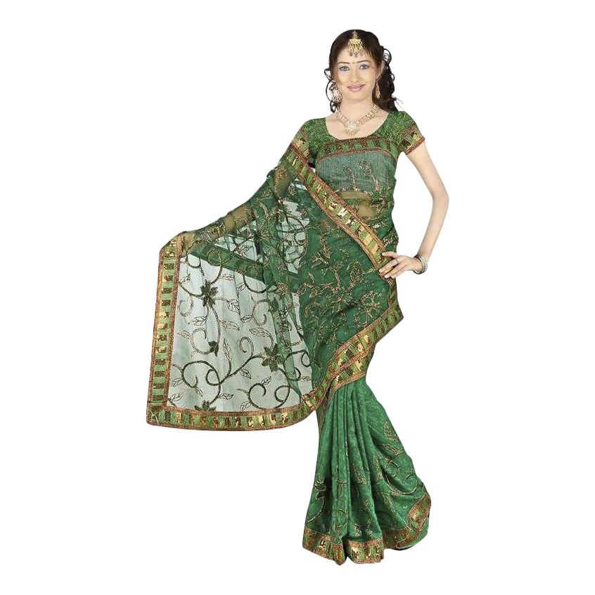 Indian Selections Bansari  Georgette Indian Sari saree with Embroidery at Sears.com