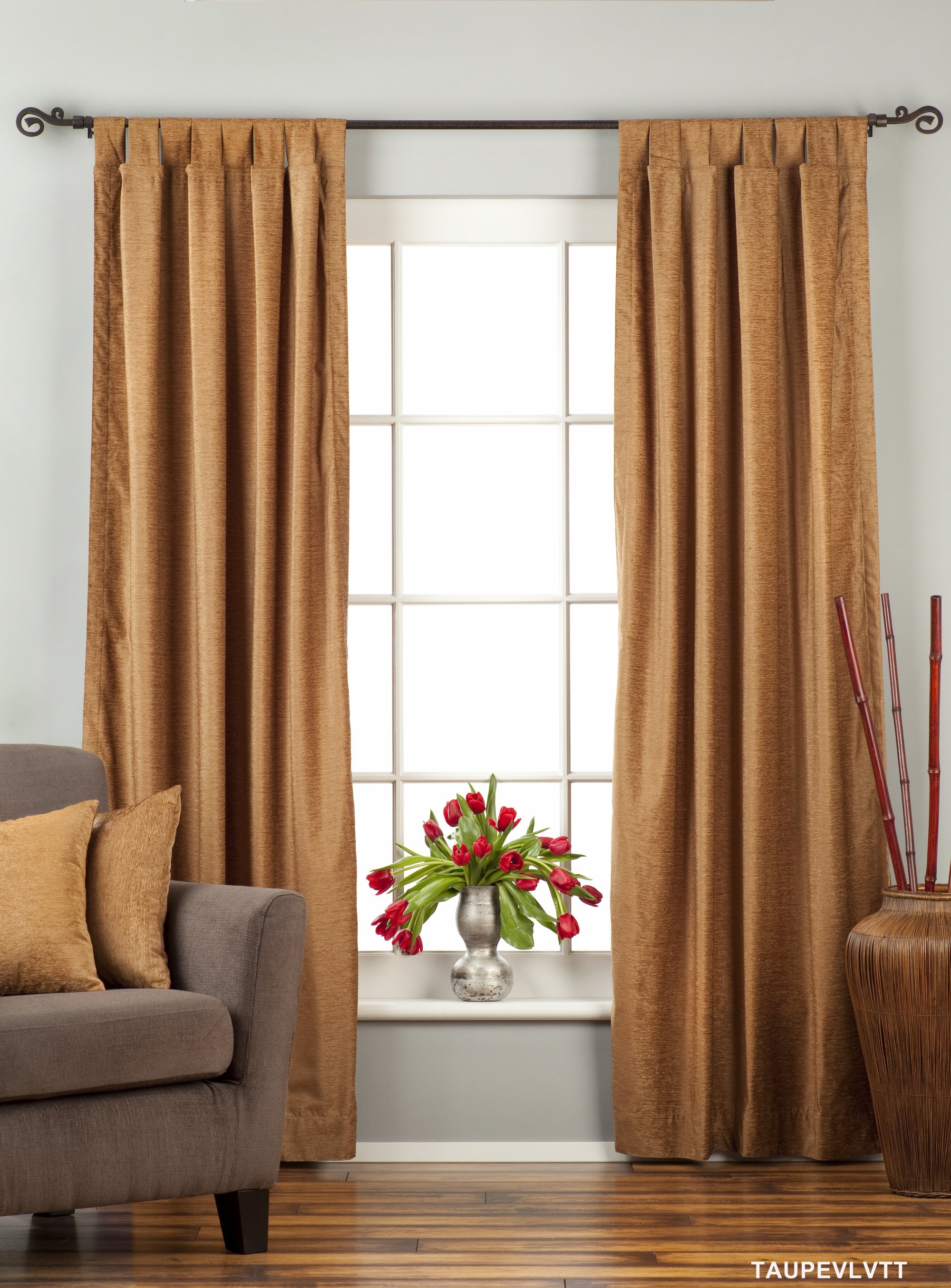 Indian Selections Taupe Tab Top  Velvet Curtain / Drape / Panel  - Piece at Sears.com