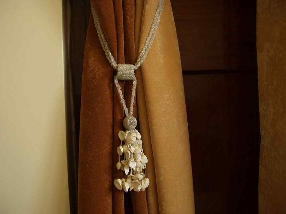 pair cream beaded decorative handmade tiebacks tassel With handmade curtain holdbacks