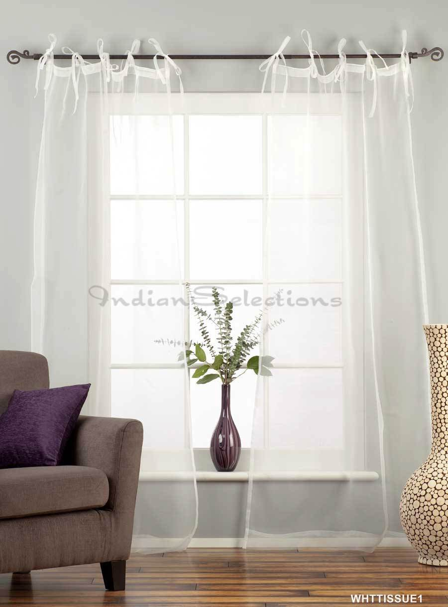 White Polka Dot Sheer Curtains Shabby Chic Tie Top Curtains