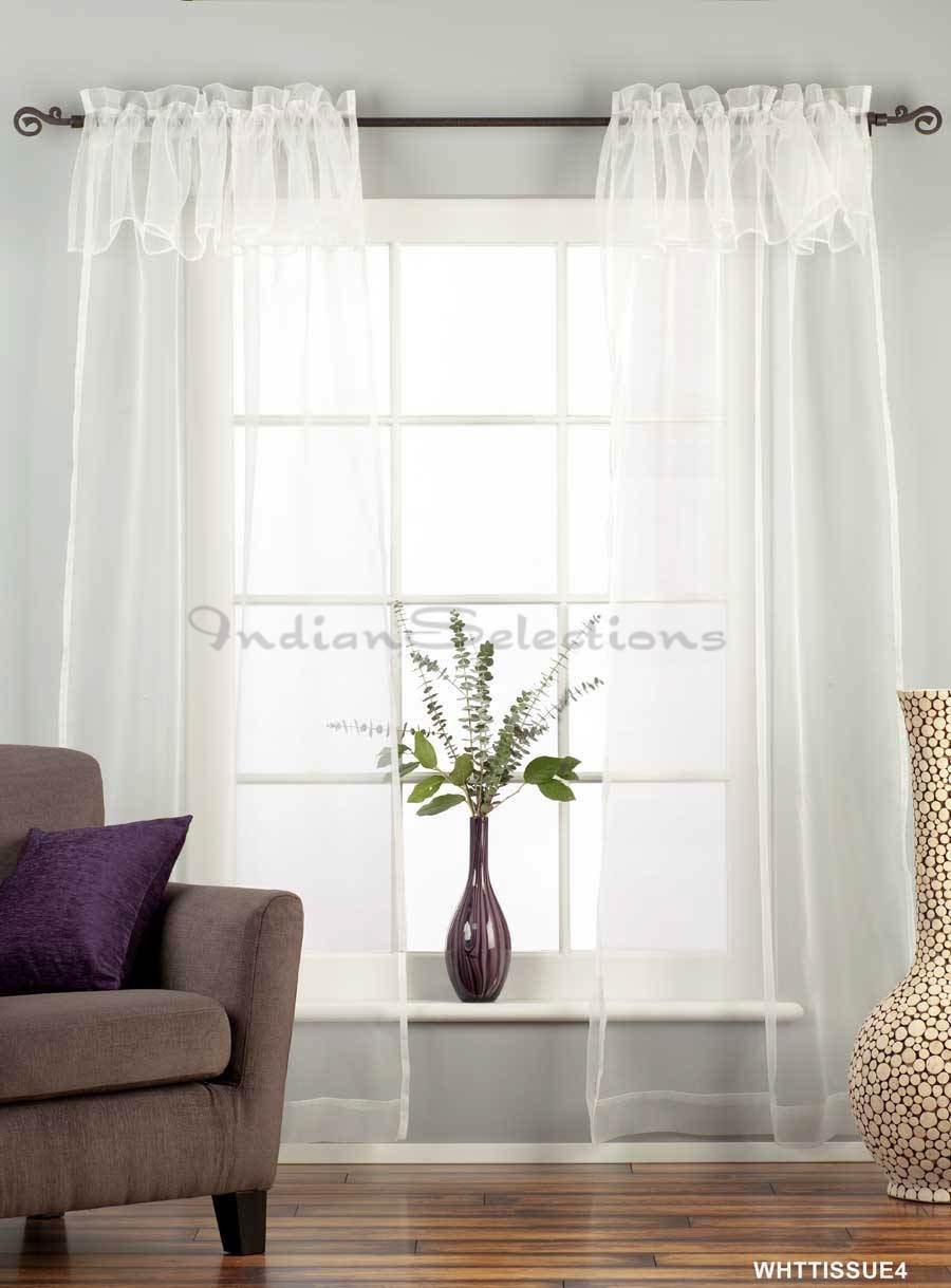 White Rod Pocket W Attached Valance Sheer Tissue Curtain