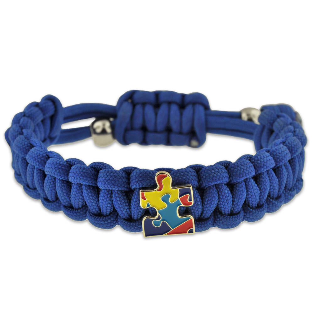 Autism awareness paracord adjustable survival bracelet for How to make a paracord utility pouch