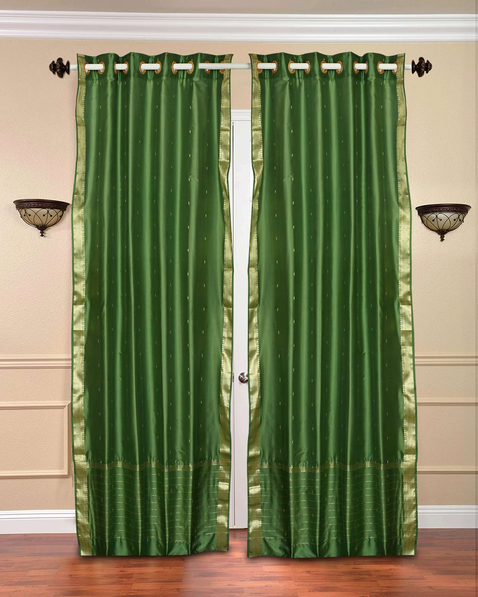 Forest green ring top sheer sari curtain drape panel for Forest green curtains drapes