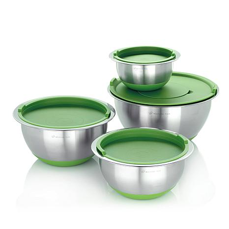 wolfgang puck 8 piece non skid stainless steel mixing bowl set ebay. Black Bedroom Furniture Sets. Home Design Ideas