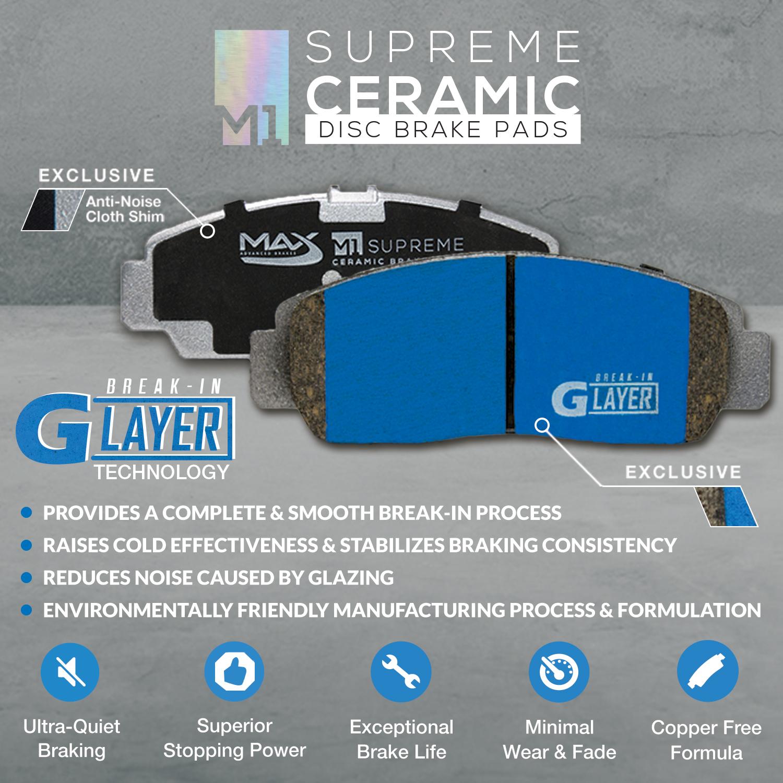 2011 2012 GMC Savana 1500 Black Slot Drill Rotor M1 Ceramic Pads F