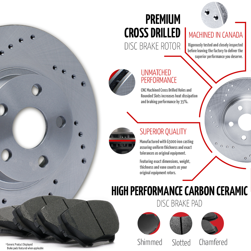 (Front + Rear) Rotors w/Ceramic Pads Drilled Brakes Caravan Journey Town Country