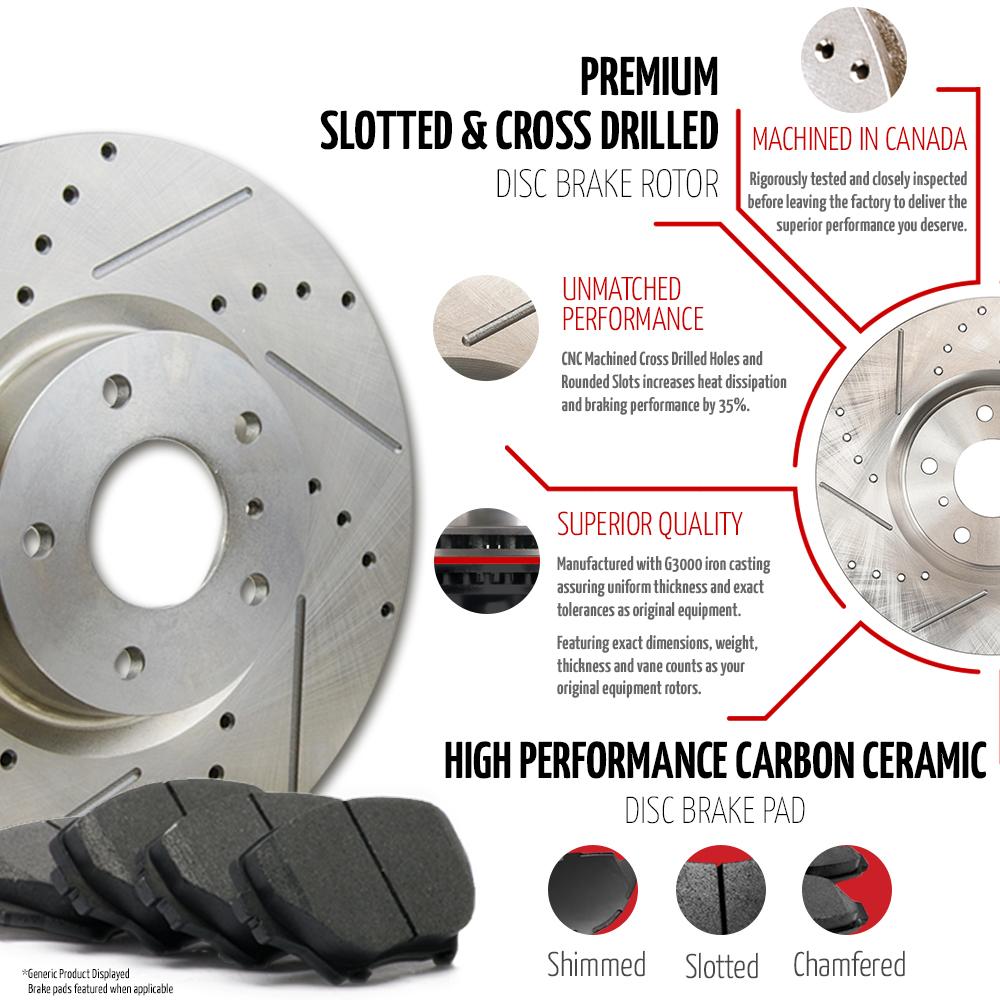 (Front + Rear) Rotors w/Ceramic Pads Premium Brakes Caravan Journey Town Country