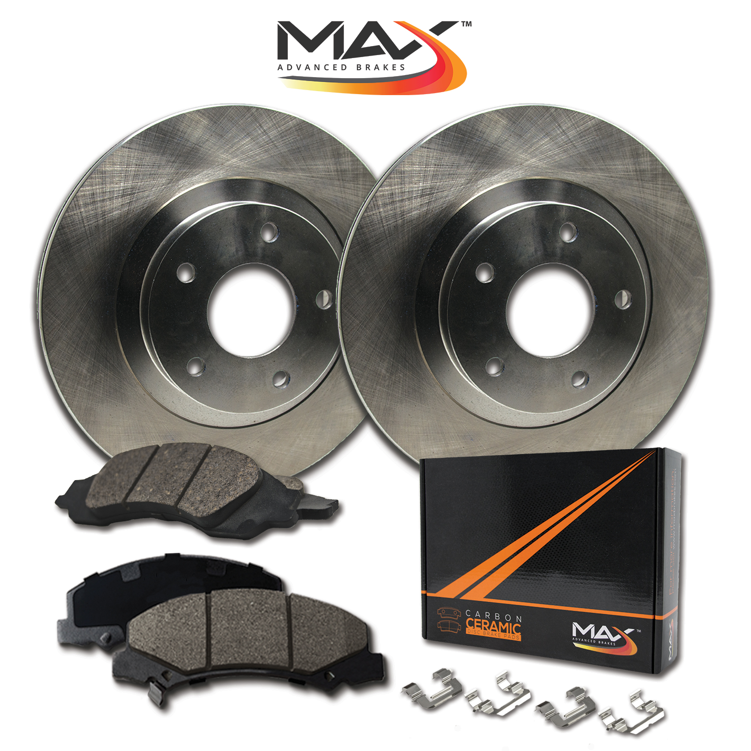 FRONT KIT OE Replacement Brake Rotors with Ceramic Pads /& Hardware Kit
